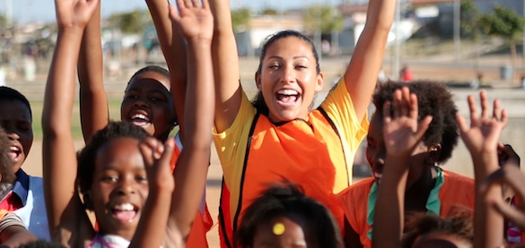 Christen Press cheers with GRS participants