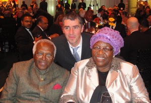 """GRS CEO Tommy Clark joined Desmond Tutu and his wife Leah """"MamaLeah"""" Tutu for the Gala Dinner."""