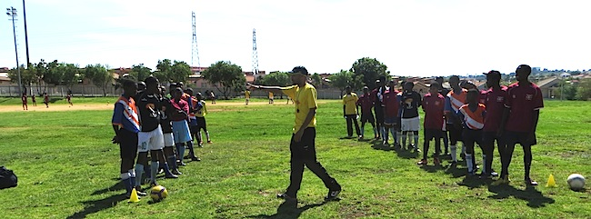 Coach Potro on the pitch