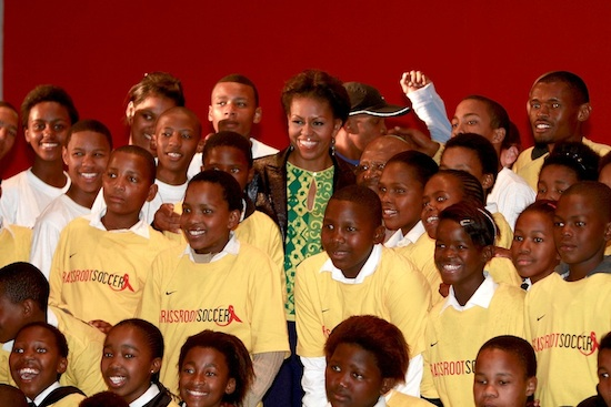 Michelle Obama visits with GRS students in Cape Town, South Africa